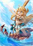1girl :d blonde_hair blue_eyes blush charlotta_(granblue_fantasy) clouds commentary crown day eyebrows_visible_through_hair frilled_swimsuit frills full_body granblue_fantasy hair_between_eyes hair_ornament hand_on_hip harbin long_hair navel open_mouth outdoors outstretched_arm pointy_ears sky smile standing star star_hair_ornament striped striped_swimsuit swimsuit very_long_hair water xion_(nyoxion)