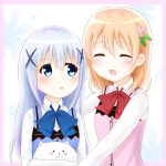 2girls :3 :d :o ^_^ angora_rabbit animal bangs blue_eyes blue_neckwear blue_vest blush bow bowtie breasts buttons closed_eyes collared_shirt eyebrows_visible_through_hair facing_another gochuumon_wa_usagi_desu_ka? hair_between_eyes hair_ornament hairclip holding holding_animal hoto_cocoa kafuu_chino light_blue_hair long_hair lunatic. multiple_girls open_mouth orange_hair outstretched_arms pink_border pink_vest rabbit rabbit_house_uniform red_neckwear shirt sidelocks small_breasts smile tippy_(gochiusa) two-tone_background upper_body vest white_shirt wing_collar x_hair_ornament