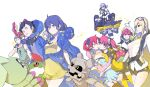 4boys 6+girls aiba_ami aiba_takumi artist_request ass assisted_exposure bandai bare_legs betamon bike_shorts bikini_top black_hair black_jacket blonde_hair blue_hair blush breasts character_request cleavage creature curvy digimon digimon_story:_cyber_sleuth digimon_story:_cyber_sleuth_hacker's_memory dress dress_shirt eyewear_on_head fangs female full_body glasses gloves goggles goggles_on_head gotsumon green_hair hagurumon hair_ornament happy highres horn hug jacket kuremi_kyouko long_hair long_twintails looking_at_viewer looking_back medium_breasts mikagura_mirei miniskirt mishima_erika monster multiple_boys multiple_girls no_bra official_art palmon ponytail redhead shinomiya_rina shiny shiny_skin shiramine_nokia shirt short_hair short_shorts shorts side_ponytail simple_background sitting skirt sunglasses sunglasses_on_head sweater tentomon terriermon twintails upper_body very_long_hair walking white_background wings wormmon yellow_eyes yuri