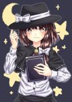 1girl blouse book brown_eyes brown_hair capelet crescent_moon hair_ribbon hat highres looking_at_viewer moon ramie_(ramie541) ribbon short_hair smile solo star star-shaped_pupils symbol-shaped_pupils touhou upper_body usami_renko