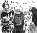 1boy 5girls closed_eyes commentary_request dark_skin dark_skinned_male echipashiko emiya_kiritsugu emiya_kiritsugu_(assassin) eyepatch fate/grand_order fate_(series) fishnets flower gourd greyscale hair_flower hair_ornament hair_ribbon highres horns katou_danzou_(fate/grand_order) long_hair looking_at_another mochizuki_chiyome_(fate/grand_order) monochrome multiple_girls oni_horns ribbon scathach_(fate/grand_order) scathach_(swimsuit_assassin)_(fate) short_hair shuten_douji_(fate/grand_order) stheno sweat translation_request twintails white_background
