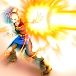 1girl android_18 belt black_legwear blonde_hair blue_eyes boots clenched_hand dragon_ball earrings energy_beam eply jewelry pantyhose shirt short_hair skirt solo torn_clothes torn_pantyhose torn_shirt torn_skirt