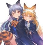 2girls alternate_costume animal_ears bandage bandaged_head bangs black_gloves black_hair blonde_hair bow bowtie breasts closed_mouth ezo_red_fox_(kemono_friends) fox_ears gloves halloween_costume heterochromia kemono_friends long_hair looking_at_viewer multicolored_hair multiple_girls orange_eyes orange_legwear orange_neckwear pepeto_(cocoyuzumugi) red_eyes silver_fox_(kemono_friends) silver_hair simple_background smile striped striped_legwear thigh-highs two-tone_hair white_background white_neckwear
