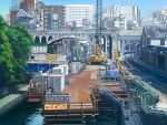 arch_bridge artist_logo building clock construction_site dated day fence kusakabe_(kusakabeworks) ladder no_humans outdoors railroad_tracks river scaffolding scenery sky tokyo_(city) traffic_cone train_station train_station_platform