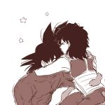 1boy 1girl armor back_turned bardock black_eyes black_hair closed_eyes couple dragon_ball forehead_kiss gine hug kiss miiko_(drops7) monochrome sepia short_hair simple_background star tail white_background