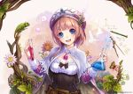 1girl :d absurdres atelier_(series) atelier_rorona bangs belt blunt_bangs blush breasts brown_hair butterfly cape chameleon chemistry cleavage compass_(instrument) corset erlenmeyer_flask eyebrows_visible_through_hair flower frills hair_over_shoulder hat hat_feather head_tilt highres holding jurrig leaf long_hair long_sleeves looking_at_viewer medium_breasts open_mouth pencil pink_hat polka_dot polka_dot_background rororina_fryxell smile solo test_tube white_cape