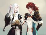2boys ahoge closed_eyes fire_emblem fire_emblem_if izana_(fire_emblem_if) japanese_clothes long_hair multiple_boys ponytail redhead simple_background smile traditional_media tsubaki_(fire_emblem_if) watercolor_(medium) white_hair