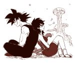 1boy 1girl :d armor back-to-back bardock black_eyes black_hair boots couple dragon_ball expressionless gine happy looking_away miiko_(drops7) monochrome musical_note open_mouth scar sepia short_hair simple_background smile tail white_background