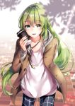 1boy :d arm_behind_back bangs black_pants blush brown_coat casual coat collarbone cowboy_shot cup dappled_sunlight enkidu_(fate/strange_fake) eyebrows_visible_through_hair fate/strange_fake fate_(series) glint green_eyes green_hair hane_yuki highres holding holding_cup long_hair long_sleeves male_focus open_clothes open_coat open_mouth pants paper_cup shirt smile standing sunlight tile_floor tiles trap unbuttoned very_long_hair white_shirt