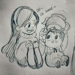 1boy 1girl black_eyes candy crossover eyebrows_visible_through_hair food gravity_falls gregory_(over_the_garden_wall) happy long_hair mabel_pines monochrome open_mouth over_the_garden_wall overalls pointing smile teapot text traditional_media twohairs