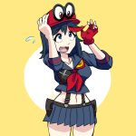 1girl black_hair cappy_(mario) crossover hat highres kill_la_kill mario_(series) matoi_ryuuko multicolored_hair redhead school_uniform senketsu serafuku short_hair simple_background super_mario_bros. super_mario_odyssey suspenders trait_connection triple-q two-tone_hair yellow_background