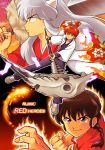 3boys animal_ears aura black_hair brown_eyes coat dog_ears english fighting_stance fingernails highres inuyasha inuyasha_(character) japanese_clothes kdc_(tamaco333) kyoukai_no_rinne male_focus multiple_boys ranma_1/2 rokudou_rinne saotome_ranma scythe sharp_fingernails shoes smile sneakers sword weapon white_hair wide_sleeves yellow_eyes