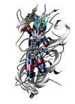 1boy abs arm_up belt_buckle blue_hair blue_skin buckle chains clenched_teeth collar fingernails full_body green_eyes hagoromo highres kazuma_kaneko leg_up official_art pointy_ears sharp_fingernails shawl shin_megami_tensei solo standing standing_on_one_leg tattoo teeth thigh_strap third_eye vajra_(object) white_background zaou_gongen