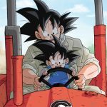 2boys :d artist_name black_eyes black_hair chinese_clothes dated dragon_ball dragon_ball_super dragonball_z driving father_and_son happy lowres male_focus multiple_boys open_mouth short_hair sky smile son_gokuu son_goten spiky_hair tractor