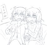 2girls ahoge arm_hug braid casual clenched_teeth cup directional_arrow fate/grand_order fate_(series) flying_sweatdrops fur_trim greyscale holding holding_cup jeanne_alter long_braid long_sleeves monochrome multiple_girls open_mouth ruler_(fate/apocrypha) scared short_hair single_braid sitting sketch sweat teeth the_iizumi translated white_background