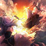 black_hair blue_hair clouds dress flying hisona_(suaritesumi) houjuu_nue kumoi_ichirin mast palanquin_ship sail ship skirt sky sun sun_flare touhou watercraft wings