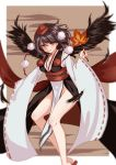 1girl absurdres alternate_costume black_hair blurry fan feathers hat highres japanese_clothes juunanaban kimono kourindou_tengu_costume leaf_fan long_sleeves looking_at_viewer pom_pom_(clothes) red_eyes shameimaru_aya smile solo tokin_hat touhou wide_sleeves wings