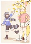 >:d 2girls :d ^_^ adapted_costume animal_ears arm_up autumn_leaves blonde_hair boots closed_eyes commentary_request common_raccoon_(kemono_friends) extra_ears fang fennec_(kemono_friends) fox_ears fox_tail fur-trimmed_shorts fur-trimmed_sleeves fur_trim grey_hair hand_on_hip kemono_friends leg_warmers long_sleeves multicolored_hair multiple_girls open_mouth pleated_skirt print_scarf raccoon_ears raccoon_tail scarf short_hair shorts skirt smile tail waving white_hair white_skirt yellow_scarf