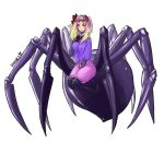 1girl absurdres arachne bangs blonde_hair blue_jacket blush breasts closed_mouth commentary extra_eyes fang full_body gradient_hair hair_ribbon hand_on_own_chest hhhori highres insect_girl jacket long_hair looking_at_viewer medium_breasts monster_girl multicolored_hair neck_ribbon original pink_hair pink_shorts red_eyes red_ribbon ribbon shorts signature solo spider_girl