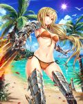 1girl armor armored_boots bikini bird blonde_hair blue_sky boots breasts cleavage day floating_hair from_below gabiran gauntlets gluteal_fold holding holding_sword holding_weapon lens_flare long_hair looking_at_viewer medium_breasts navel orange_bikini outdoors outstretched_arm palm_tree parted_lips petals ponytail red_eyes shiny shiny_skin side-tie_bikini sky solo standing sun swimsuit sword tenkuu_no_crystalia tree under_boob very_long_hair weapon