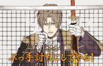 gloves heshikiri_hasebe looking_at_viewer parody pointing pointing_at_viewer sword tennis_net touken_ranbu tunnels_no_sports_ou_wa_ore_da!! weapon white_gloves
