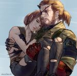 1boy 1girl absurdres brown_hair carrying eyepatch fingerless_gloves gloves highres horn maohard mechanical_arm metal_gear_(series) metal_gear_solid_v pantyhose ponytail princess_carry quiet_(metal_gear) scar smile torn_clothes torn_pantyhose venom_snake