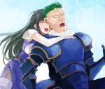 1boy 1girl aira_(fire_emblem) arden_(fire_emblem) armor black_hair closed_eyes fire_emblem fire_emblem:_seisen_no_keifu gloves hug hug_from_behind kaito_(sawayakasawaday) long_hair open_mouth smile