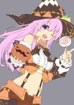 1girl candy dress food hair_ornament halloween_costume hat highres holding lollipop long_hair looking_at_viewer navel nepgear neptune_(series) normaland one_eye_closed pink_hair short_dress solo violet_eyes witch_hat
