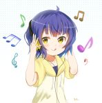 1girl :q aayh ahoge bangs bass_clef beamed_quavers beamed_semiquavers blue_hair blush closed_mouth commentary_request drawstring eyebrows_visible_through_hair gochuumon_wa_usagi_desu_ka? halftone halftone_background hands_on_headphones headphones hood hood_down hoodie jouga_maya listening_to_music looking_at_viewer musical_note quaver short_sleeves simple_background smile solo tareme tongue tongue_out treble_clef upper_body white_background yellow_eyes yellow_hoodie
