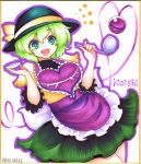 1girl adapted_costume apron artist_name bangs blush_stickers cowboy_shot frilled_apron frills green_eyes green_hair green_pupils green_skirt hat hat_ribbon komeiji_koishi long_sleeves open_mouth outline purple_apron ribbon saucer short_hair simple_background skirt smile solo soup_ladle third_eye touhou waist_apron warugaki_(sk-ii) white_background yellow_skirt