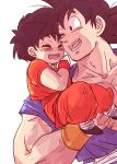 1boy 1girl ;) black_eyes black_hair carrying closed_eyes dougi dragon_ball dragonball_z grandfather_and_granddaughter happy miiko_(drops7) one_eye_closed open_mouth pan_(dragon_ball) short_sleeves simple_background smile son_gokuu white_background wristband