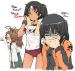 3girls alternate_costume black_hair brown_eyes brown_hair covering_mouth drying gym_shirt gym_uniform hand_over_own_mouth headband heavy_breathing kantai_collection kuma_(kantai_collection) long_hair long_sleeves multiple_girls nagara_(kantai_collection) one_side_up sendai_(kantai_collection) shirt standing sweat sweating sweating_profusely tabigarasu towel towel_around_neck translation_request two_side_up wet wiping_sweat