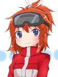 1girl arms_at_sides bangs blue_eyes blush brown_hair closed_mouth commentary_request goggles goggles_on_head hair_between_eyes hair_ribbon high_ponytail jacket koshigaya_natsumi looking_at_viewer non_non_biyori red_jacket ribbon shika_(s1ka) sidelocks ski_goggles smile solo tareme upper_body white_ribbon winter_clothes