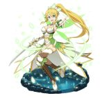 1girl :d blonde_hair boots breasts choker cleavage detached_sleeves full_body green_eyes green_wings hair_between_eyes hair_ornament high_ponytail holding holding_sword holding_weapon jewelry large_breasts leafa long_hair looking_at_viewer navel necklace open_mouth outstretched_arm pointy_ears sidelocks smile solo sword sword_art_online thigh-highs transparent_background very_long_hair weapon white_apnties white_legwear wings