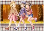 3girls :d ^_^ akagi_miria ankle_lace-up autumn_leaves backpack bag bangs beige_legwear belt_pouch beret black_eyes black_hair blonde_hair blue_footwear blue_shorts bow breast_pocket brown_eyes brown_footwear brown_hair brown_jacket brown_legwear closed_eyes collared_shirt commentary_request cross-laced_footwear eye_contact eyebrows_visible_through_hair flower hair_between_eyes hair_bobbles hair_ornament hairpin hand_holding handbag hands_on_another's_shoulders hat highres idolmaster idolmaster_cinderella_girls jacket kneehighs koga_koharu leaf_hair_ornament loafers long_sleeves looking_at_another multiple_girls necktie open_clothes open_jacket open_mouth outdoors pink_neckwear pink_skirt plaid pleated_skirt pocket purple_jacket raglan_sleeves red_footwear regular_mow sandals sasaki_chie shirt shoes short_hair short_twintails shorts shoulder_bag skirt smile sneakers socks sweater_vest track_jacket tree twintails walking white_legwear white_shirt yellow_bow yellow_shirt