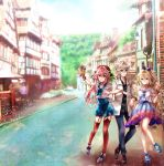 1girl 2boys beret blonde_hair blue_eyes braid brown_hair casual commentary_request dress fang fate/apocrypha fate/grand_order fate_(series) hair_ribbon hand_holding hat highres long_hair looking_at_viewer multiple_boys open_mouth pink_eyes pink_hair red_eyes ribbon rider_of_black rono@7272usa ruler_(fate/apocrypha) sandwiched short_hair sieg_(fate/apocrypha) single_braid smile trap white_hair