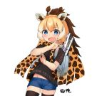1girl alternate_costume backpack bag black_legwear black_shirt blonde_hair blue_eyes blush brown_hair choir_(artist) clothes_writing commentary_request contemporary cowboy_shot eyebrows_visible_through_hair giraffe_ears giraffe_horns kemono_friends long_hair looking_at_viewer multicolored_hair open_mouth poster_(object) print_scarf reticulated_giraffe_(kemono_friends) scarf shirt short_shorts shorts simple_background solo surprised sweat sweating_profusely t-shirt thigh-highs white_background
