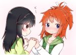 2girls :t bangs black_hair blue_eyes blush brown_eyes closed_mouth collarbone commentary_request embarrassed eyebrows_visible_through_hair green_skirt green_vest hair_ribbon hand_holding high_ponytail ichijou_hotaru interlocked_fingers koshigaya_natsumi long_hair long_sleeves looking_at_another looking_away looking_to_the_side multiple_girls non_non_biyori orange_hair pink_background pout ribbon shika_(s1ka) shirt short_sleeves sidelocks simple_background skirt sweat vest white_ribbon white_shirt