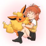 1girl :3 bangs black_legwear black_skirt blush brown_hair closed_eyes closed_mouth collared_shirt creatures_(company) crossover eyebrows_visible_through_hair flareon game_freak gen_1_pokemon hair_ribbon head_tilt high_ponytail kneehighs koshigaya_natsumi long_hair media_factory nintendo no_shoes non_non_biyori olm_digital panties pleated_skirt pokemon pokemon_(creature) pokemon_rgby ribbon school_uniform shika_(s1ka) shirt short_sleeves sidelocks silver_link skirt solo sweater_vest tv_tokyo underwear white_panties white_ribbon white_shirt