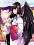 1girl black_hair black_wings blue_eyes brll cotton_candy eating japanese_clothes kimono long_hair looking_at_viewer mabinogi morrighan one_eye_closed smile solo very_long_hair wings yukata