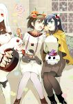 4girls :d ahoge alternate_costume bench black_hair black_legwear blue_eyes blurry brown_eyes brown_hair building casual claws cosplay depth_of_field detached_sleeves enemy_aircraft_(kantai_collection) fake_horns food hairband halloween halloween_costume hiryuu_(kantai_collection) holding horn horns i-class_destroyer ice_cream ice_cream_cone kantai_collection long_hair midway_hime midway_hime_(cosplay) miss_cloud mittens multiple_girls northern_ocean_hime northern_ocean_hime_(cosplay) open_mouth pantyhose park_bench person_carrying pleated_skirt red_eyes seaport_water_oni shinkaisei-kan short_hair sitting size_difference skirt smile souryuu_(kantai_collection) white_hair white_legwear white_skin yuzuki_yuno