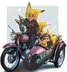 >_o 2girls :3 absurdres animal animal_ears bangs black_jacket black_pants blonde_hair blue_background blunt_bangs brown_fur brown_gloves clothed_animal commentary_request doitsuken eyebrows_visible_through_hair fox fox_ears fox_girl fox_tail fur furry gloves ground_vehicle hair_between_eyes headwear_removed heart helmet helmet_removed highres holding holding_helmet jacket looking_at_viewer motor_vehicle motorcycle motorcycle_helmet multiple_girls multiple_tails musical_note one_eye_closed original pants short_eyebrows short_hair sidecar sitting smile spoken_heart sunglasses tail thick_eyebrows thumbs_up two_tails