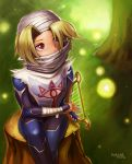 1girl androgynous bandage blonde_hair braid forest gloves hat hybridmink long_hair mask nature pointy_ears red_eyes reverse_trap sheik solo surcoat the_legend_of_zelda the_legend_of_zelda:_ocarina_of_time
