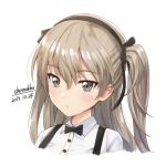 1girl artist_name bangs black_neckwear black_ribbon bow bowtie brown_hair buttons closed_mouth collared_shirt dated expressionless eyebrows_visible_through_hair girls_und_panzer grey_eyes hair_between_eyes hair_ribbon hairband long_hair looking_at_viewer one_side_up portrait ribbon shamakho shimada_arisu shiny shiny_hair shirt signature simple_background solo suspenders tsurime white_background white_shirt