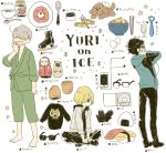 3boys alcohol amamiya_konatsu black_gloves black_hair blonde_hair blue-framed_eyewear borscht_(food) bowl cd cellphone champagne champagne_flute chopsticks copyright_name cup drinking_glass earphones egg food glasses gloves hair_over_one_eye hood hoodie ice_skates indian_style jacket japanese_clothes jar jewelry katsudon_(food) katsuki_yuuri male_focus matryoshka_doll multiple_boys necktie onigiri phone pirozhki ring sashimi silver_hair sitting skates smartphone sparkle spoon sunglasses sweater tissue_box track_jacket translation_request viktor_nikiforov yawning yuri!!!_on_ice yuri_plisetsky