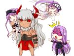 1boy 3girls asterios_(fate/grand_order) black_bow black_ribbon black_sclera blindfold blush boots bow chibi commentary_request dress euryale facial_mark fang fate/grand_order fate_(series) forehead_mark hairband happa16 jumping lolita_hairband long_hair looking_at_another multiple_girls no_nose on_shoulder open_mouth purple_hair red_eyes ribbon rider scar shirtless siblings sisters stheno strapless strapless_dress sweatdrop thigh-highs thigh_boots triangle_mouth twintails very_long_hair white_background white_hair white_ribbon