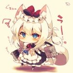 1girl animal_ears azur_lane blue_eyes bow cat_ears chibi hair_bow hair_ribbon hamann_(azur_lane) looking_at_viewer low_twintails machinery muuran ribbon solo tearing_up translated turret twintails white_hair