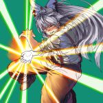 1girl attacking_viewer bangs bright_pupils chanta_(ayatakaoisii) charging eyebrows_visible_through_hair fujiwara_no_mokou green_background grey_hair grin hair_ribbon kamehameha light light_beam long_hair looking_at_viewer orange_pants pants parted_lips ponytail red_eyes ribbon shirt shoes smile solo suspenders touhou white_shirt