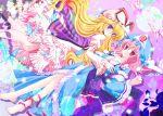 blonde_hair butterfly flower hat long_hair pink_eyes pink_hair purple_eyes saigyouji_yuyuko shirogane_hina touhou violet_eyes yakumo_yukari