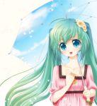 aqua_hair chikkuru flower hatsune_miku jewelry long_hair melt_(vocaloid) pendant petals spring_onion themed_object twintails umbrella vocaloid
